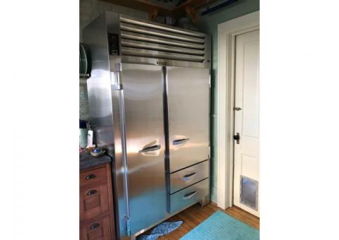 "Traulsen all stainless frig/freezer, 48"" wide, 24"" deep, 81"" high"
